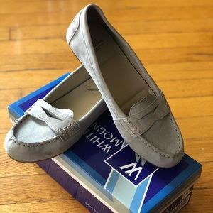 Grey faux suede loafers